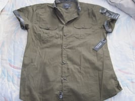 NWT Paper Denim and Cloth Stretch Short Sleeve Snap Button Men's Shirt