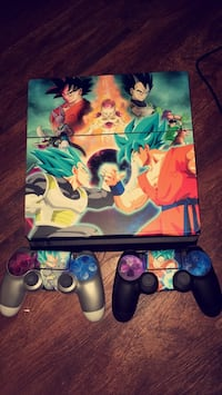 Dragon ball Theme Sony PS4 console with controllers