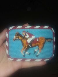 man riding horse beaded pouch