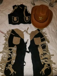 Cowboy costume with real suede vest and chaps.   New Hartford