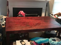 Rectangular red oak stained wooden table with two benches Sterling, 20166