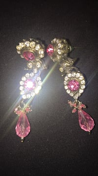 two silver-colored and pink gemstone earrings Brampton, L6X 4S3