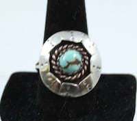 Old Pawn Hand Made Sterling Silver #8 Blue Turquoise Shadow Box Ring Mesa