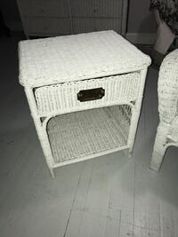 White wicker beach cottage coastal end table night stand nightstand Rockville, 20855