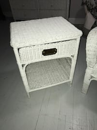 White wicker beach cottage coastal end table night stand nightstand