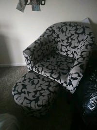 white and black floral fabric sofa chair Triangle, 22172