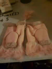 suede fingerless gloves NEW