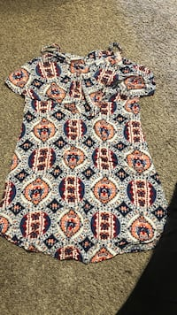 blue, red, and white floral textile Davenport, 52802