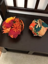 "Fall/Halloween decor Flowers in a straw pumpkin 6"" H x 4"" W Cloth patchwork pumpkin 6"" H x 6"" W 6 km"