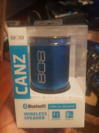 blue and blac 808 Canz wireless speakers in box