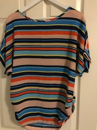 brown and multi-colored strip scoop-neck top