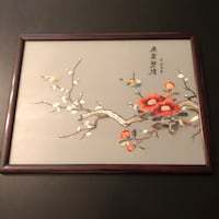 Asian Glass Painting in Wood Frame Arlington, 22204