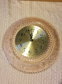 round brown cut-glass floral analog clock