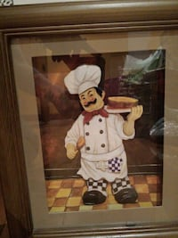 rectangular brown wooden frame chef holding a gray painting Repentigny, J5Z 3H2