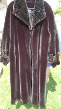 Faux fur coat, length ¾, color: charcoal black with brown color  - Very Warm & Dressy TORONTO