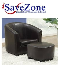NEW-  Juvenile Chair & Ottoman Set, Dark Brown Faux Leather Mississauga