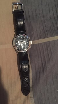 Black leather strap round chronograph watch Michael Kors