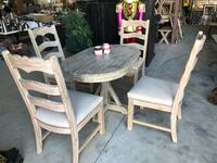 round brown wooden table with four chairs dining set Spring, 77373