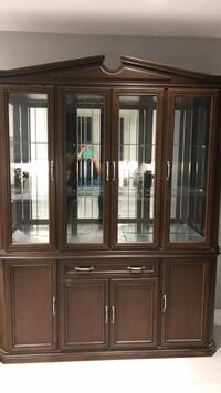 brown wooden framed glass display cabinet Toronto, M9L 2J5