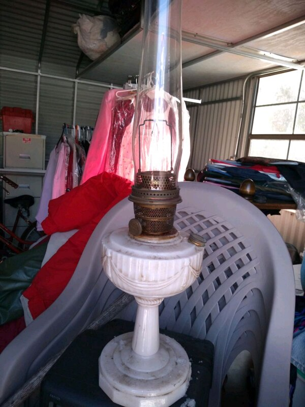 white and brown table lamp