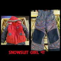 girl's gray and pink floral snowsuit photo collage