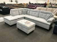 Brand New Grey Linen Sectional Sofa w/Storage O Silver Spring