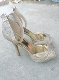 pair of gray open-toe ankle strap heels Moreno Valley, 92557