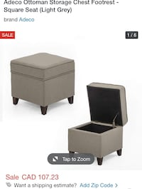 (Brand New) Adeco Ottoman Storage Chest Footrest - Square Seat  St Thomas, N5R 6M6