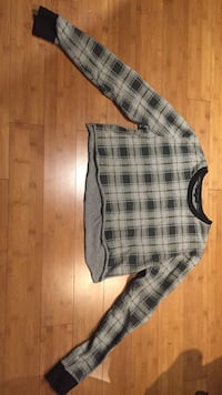 Black and gray plaid sweater cropped