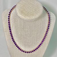 Genuine Sterling Silver Amethyst Tennis Necklace Ashburn