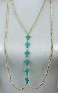 Body gold chain with blue turquoise crosses