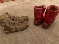 Pair of red ugg sparkle and knit boots