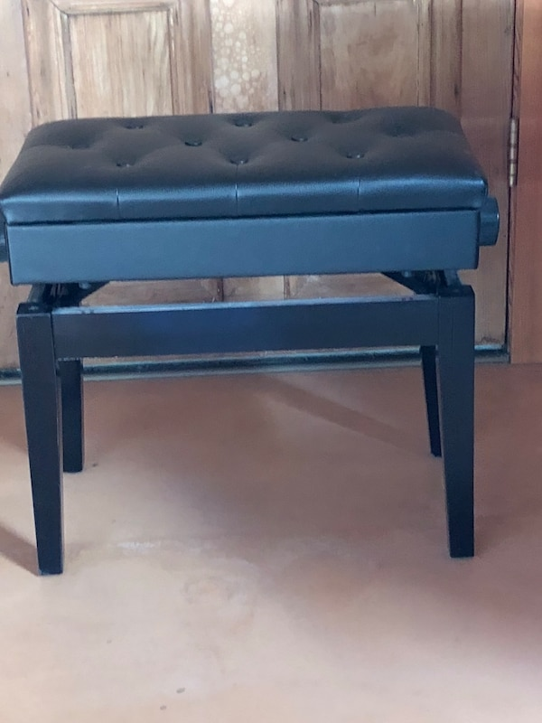 Marvelous Tufted Black Leather Piano Bench With Storage Compartment Creativecarmelina Interior Chair Design Creativecarmelinacom