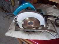 blue and gray Makita circular saw Langley