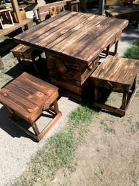 Unique Hand made rustic table and stools.