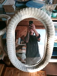 Mirror with wicker frame