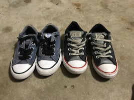 Boys size 1 (blue) and 1/12 black converse tennis shoes