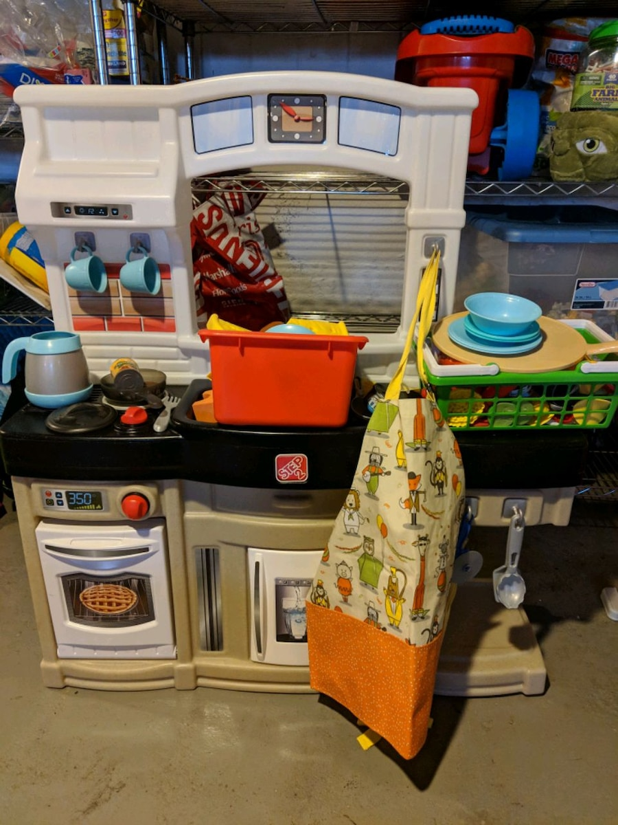 used step 2 kids kitchen set with extra food and apron for sale in rh gb letgo com