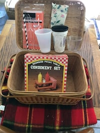 Picnic Basket with Picnic Table Condiment Assortment along with hot/ cold cups, plates, napkins, knives, forks and spoons! Included a blanket!! Baltimore, 21236