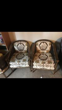 Two brown wooden framed padded armchairs Escondido, 92027
