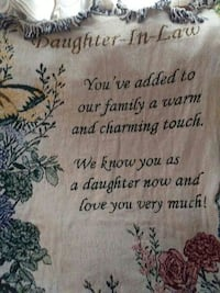 beige and black Daughter-in-law quotes printed tapestry
