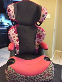 pink, white, and black Evenflo leopard print safety seat