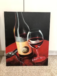 Set of wine bottle and glass paintings Pickering, L1X 1B4