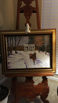 horse on snow painting with brass frame Prineville, 97754