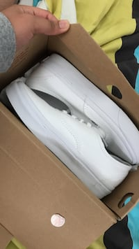 All White Vans, size 6 in women's. Only worn once, still in box.