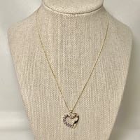 10k Gold Sapphire & Diamond Heart Pendant with 14k GF Chain Ashburn