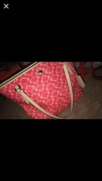 Red and white monogrammed coach leather handbag Calgary, T2W 0C3