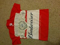 white and red Budweiser polo shirt Woodstock