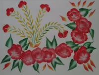 white, red, and green floral painting MIAMI