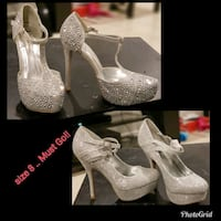 pair of silver glittered platform stilettos New Carrollton, 20784